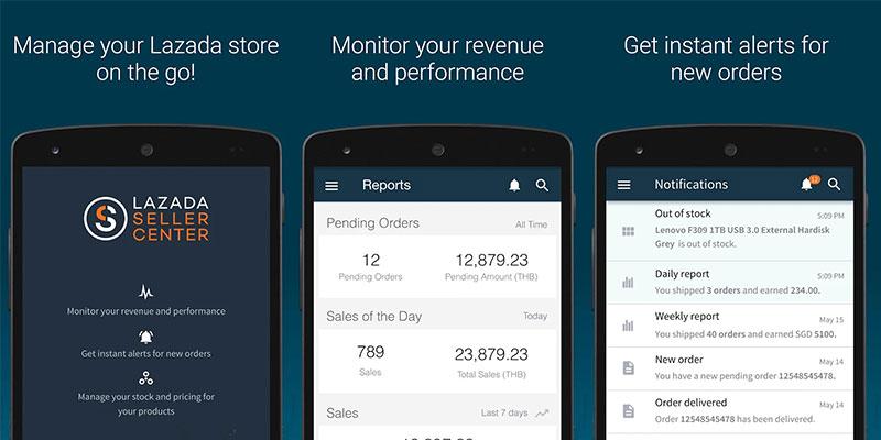 seller center aplikasi mobile untuk para penjual di lazada