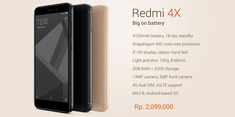 Harga Xiaomi Redmi 4x Android 5 Inci Spesifikasi Ram 3gb Storage 32gb