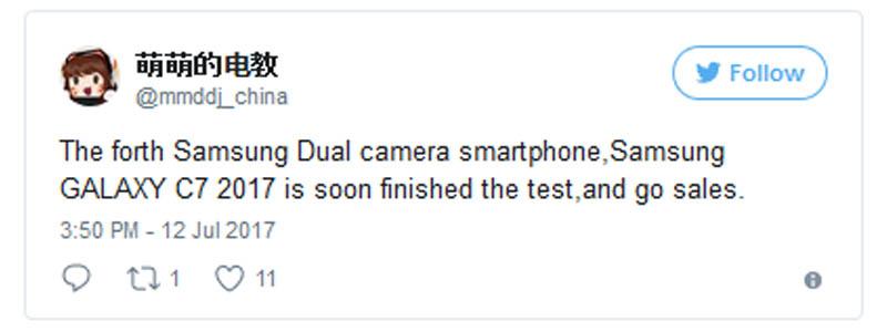 Galaxy C7 Dual Camera Leak