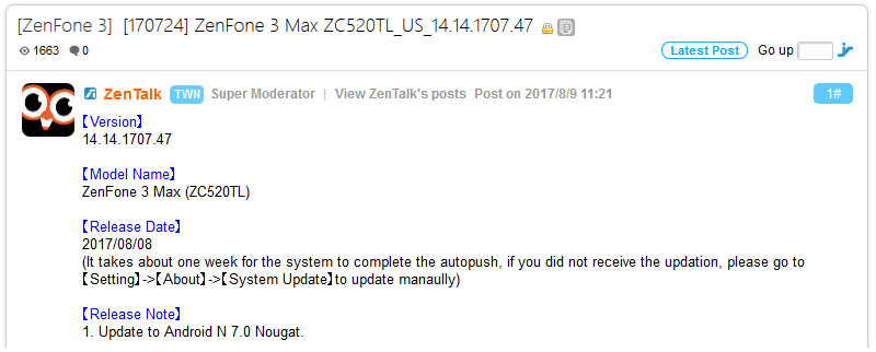 ASUS Zenfone 3 Max MediaTek Nougat
