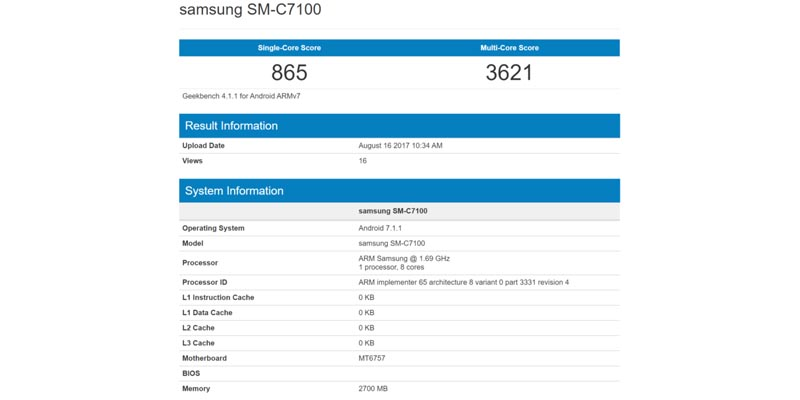 Galaxy C7 2017 Geekbench