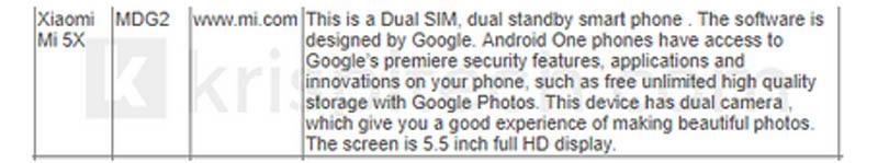 Xiaomi Mi 5X POSTEL