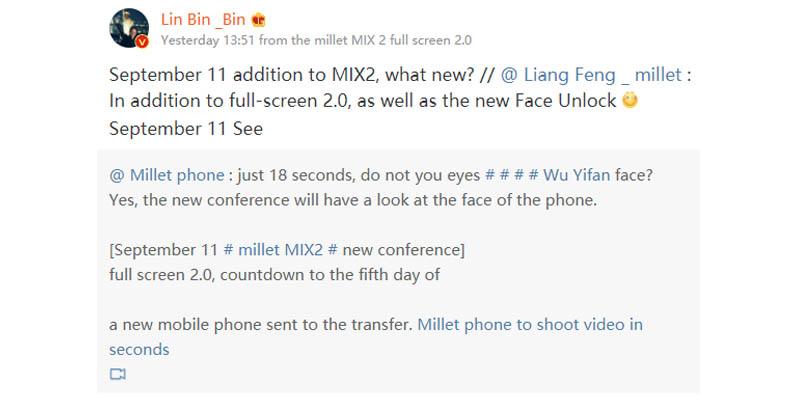 Lin Bin Teaser Mi MIX 2