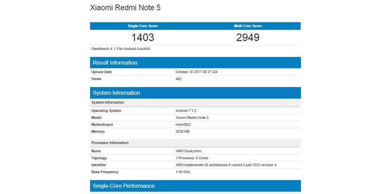Geekbench Reveals redmi Note 5 Use Snapdragon 617 Chipset