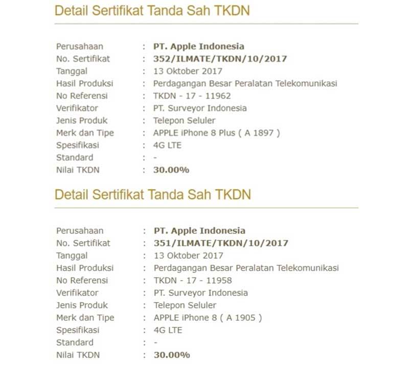 Sertifikasi TKDN iPhone 8 dan 8 Plus