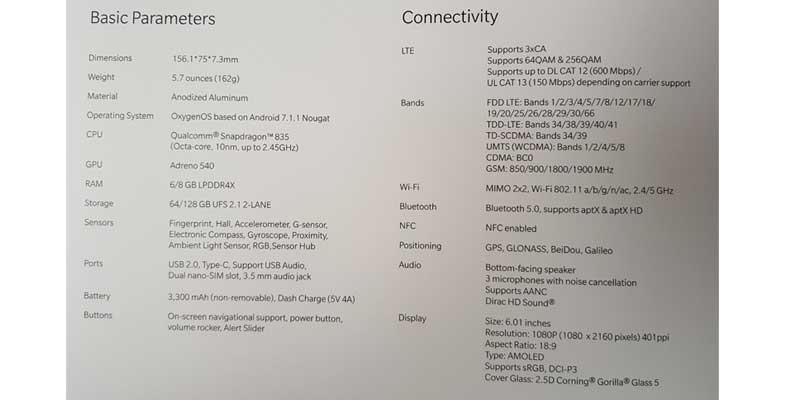OnePlus 5t leak 5
