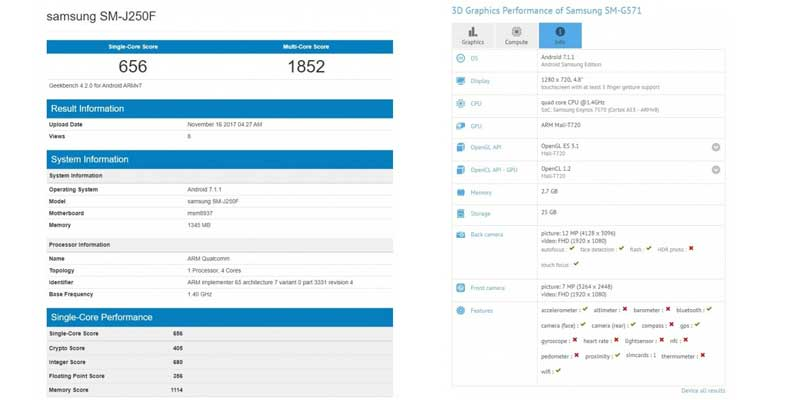 Samsung Galaxy J2 Pro dan J5 Prime Leak