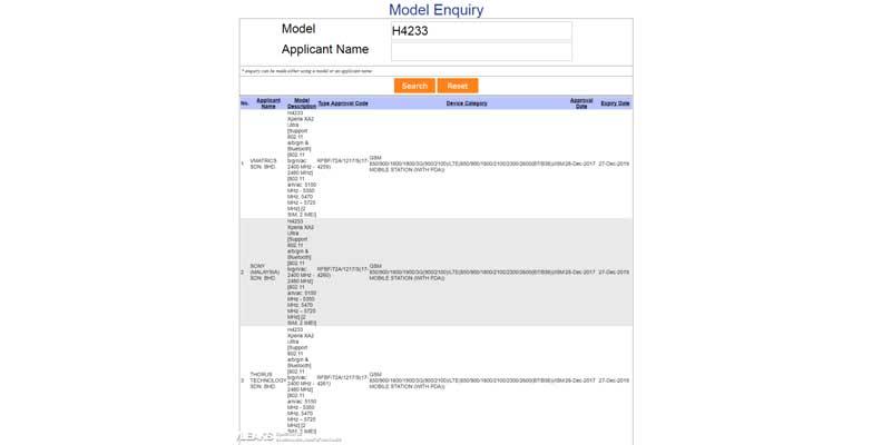 Sony Xperia XA2 Ultra Model Data