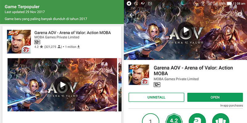 Google Play: Arena of Valor Game Terpopuler 2017 \u2013 Portal