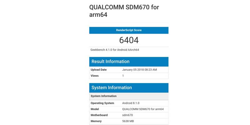 Qualcomm Snapdragon 670 Adreno 620