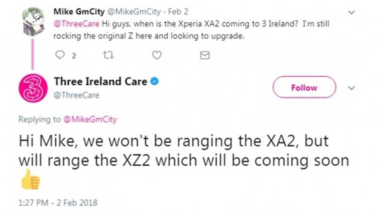 Xperia XZ2 Tweet Irlandia