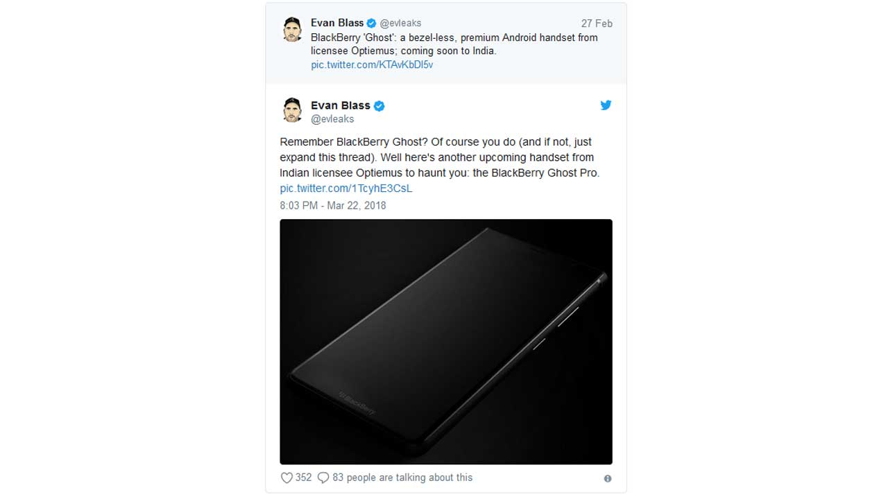 BlackBerry Ghost Pro Evleaks