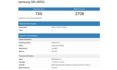 Geekbench Galaxy J8 400x240