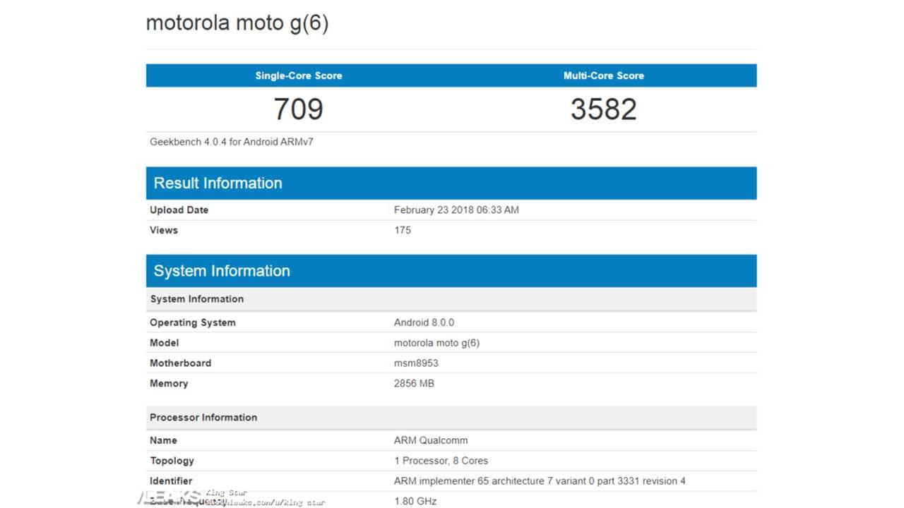 Moto G6 Geekbench