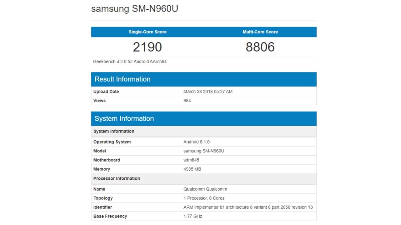 Samsung Galaxy Note 9 Geekbench SD845