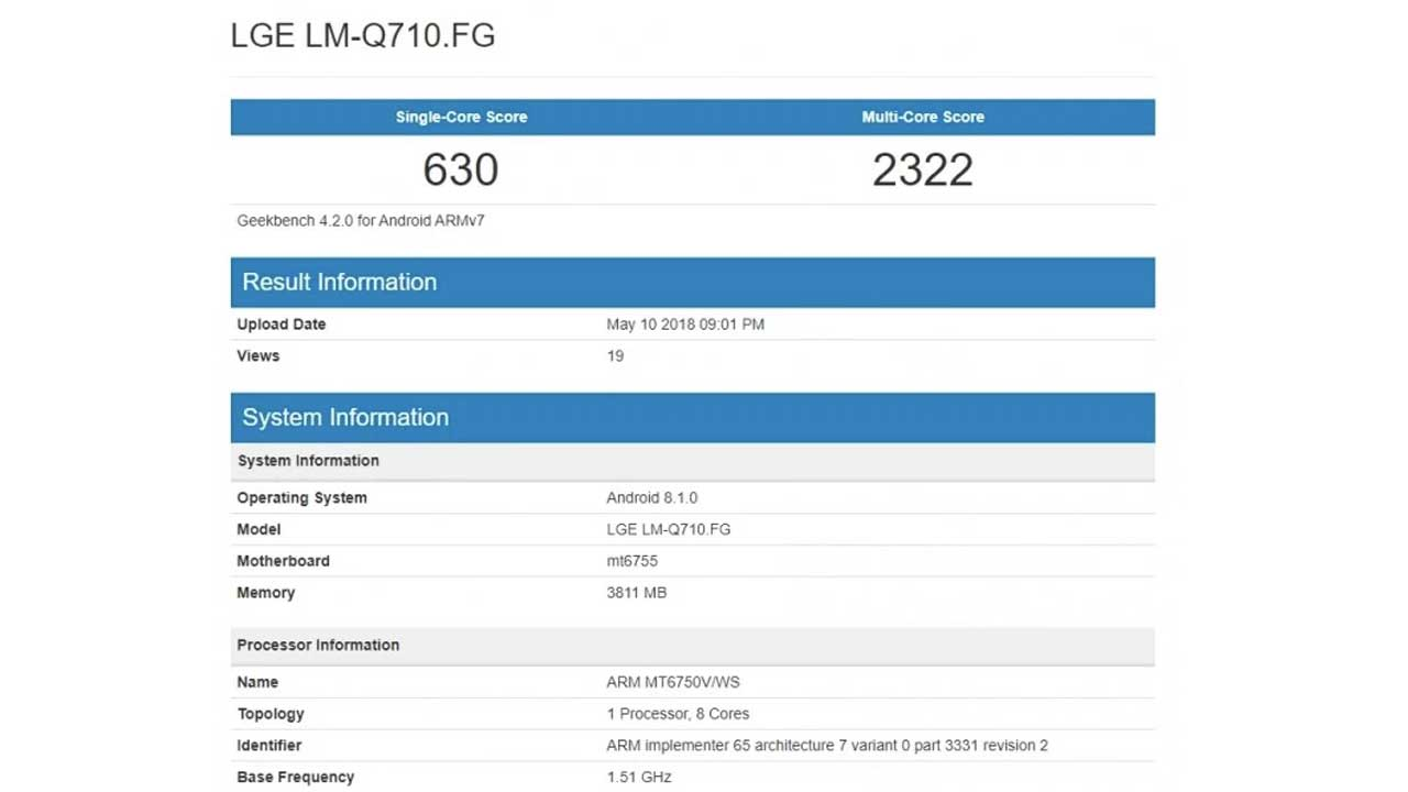 LG Q7 Geekbench