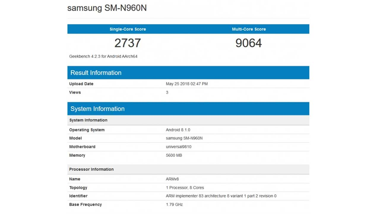 Samsung Galaxy Note9 Geekbench