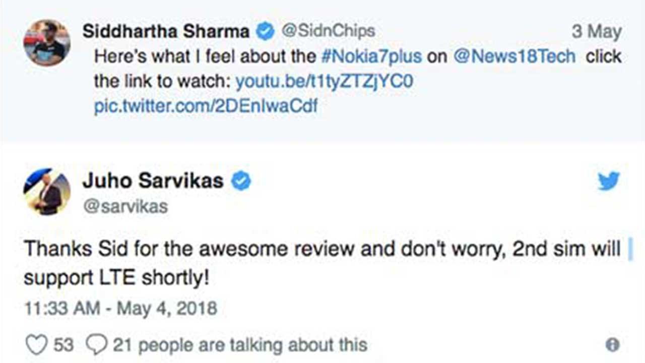 Twitter Sarvikas Nokia 7 Plus