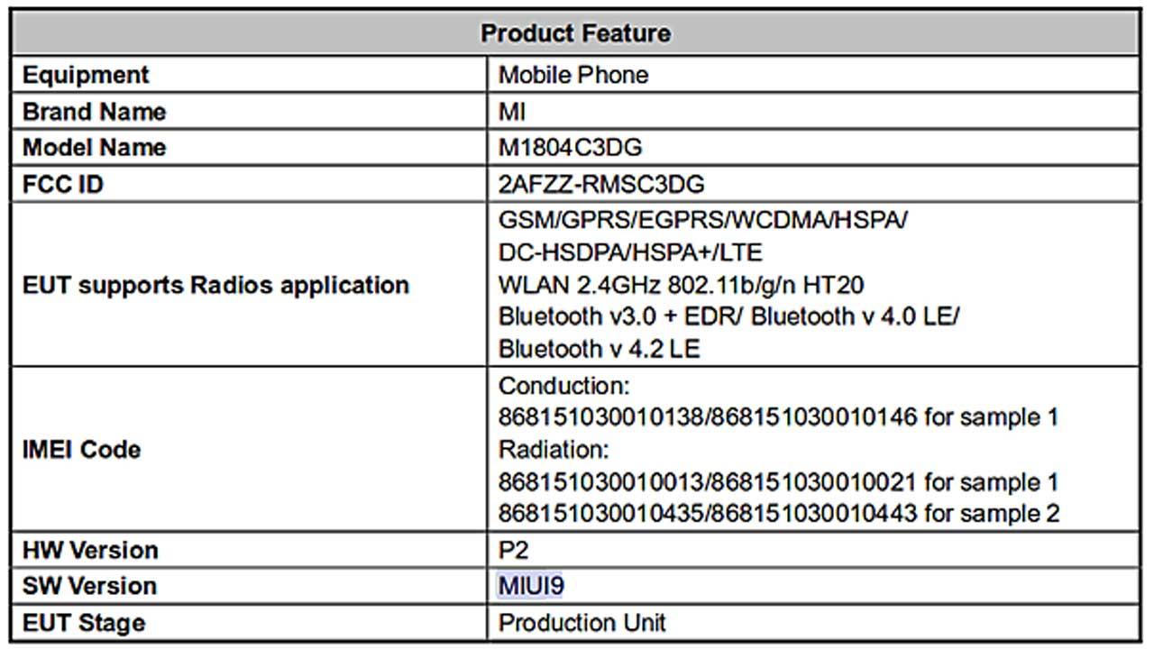 Xiaomi FCC