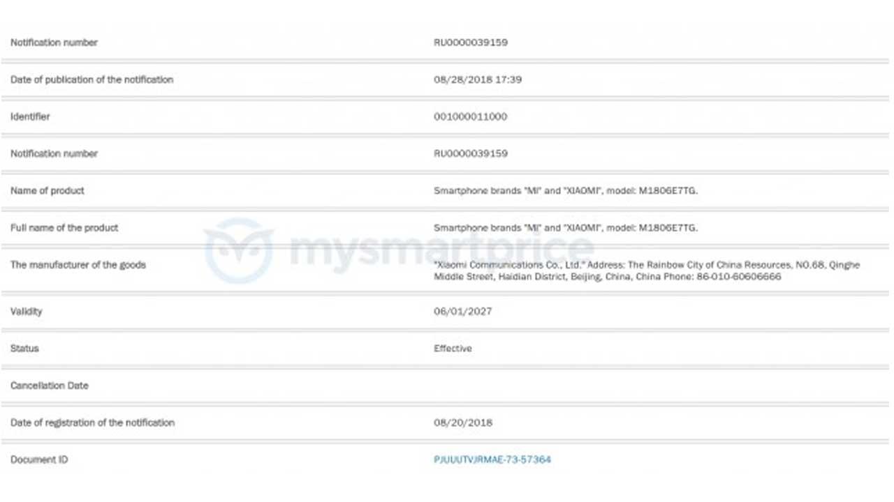 Redmi Note 6 Certification