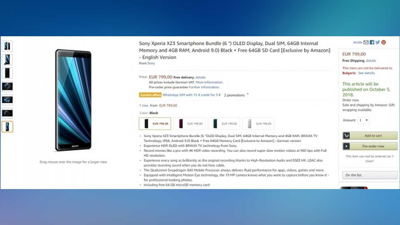 Sony Xperia XZ3 in Germany