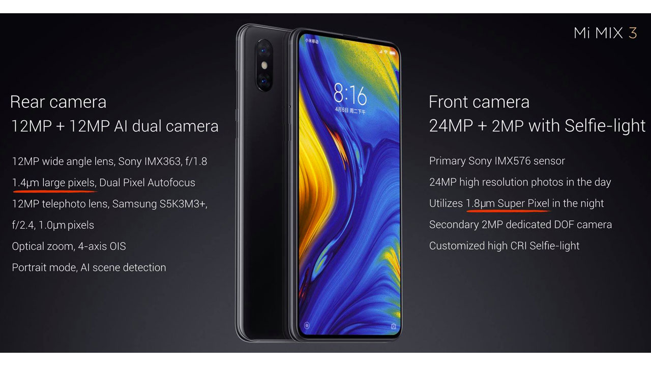 The advantages of the Mi MIX 3 Camera will be transferred to the Mi 8 and Mi MIX 2S