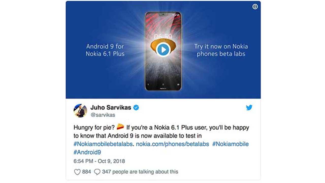 Nokia 6.1 Plus Twitter