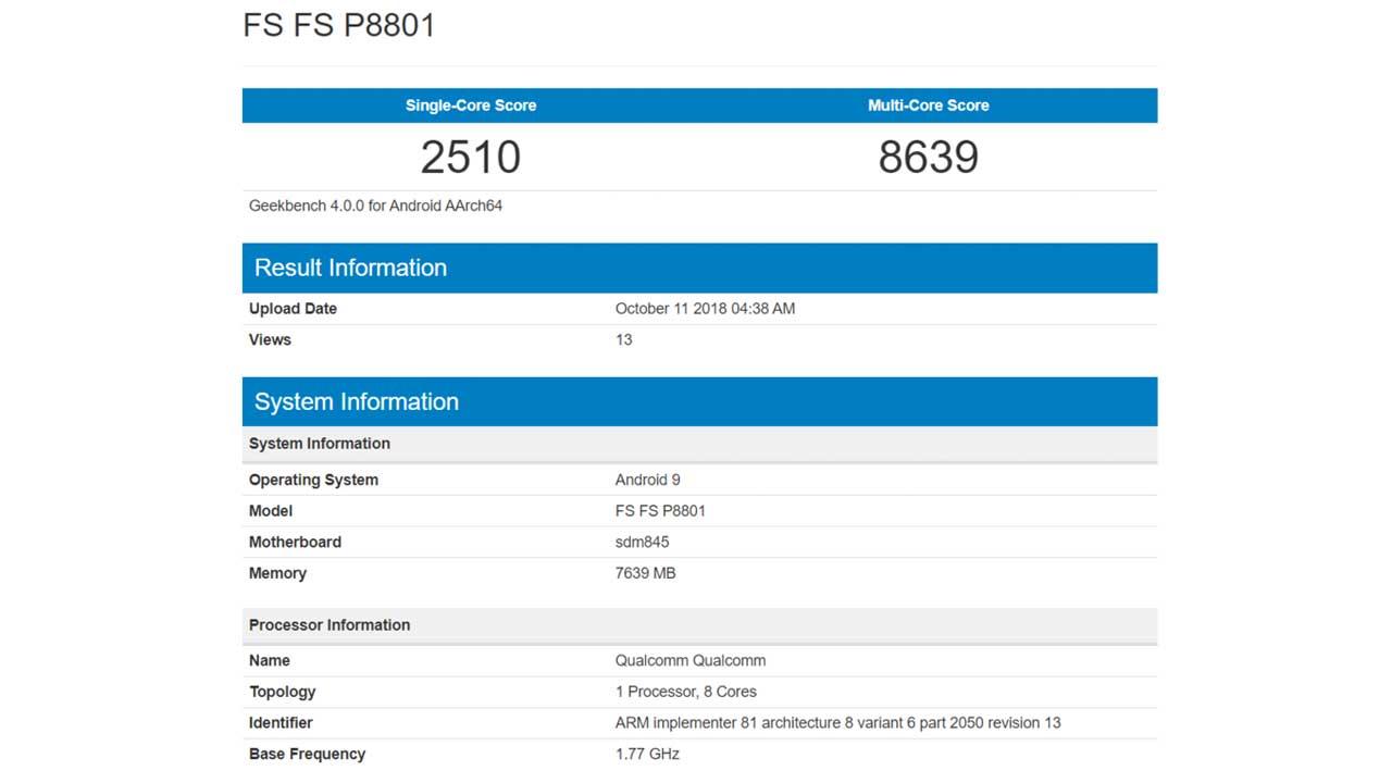 OnePlus 6T Geekbench 1