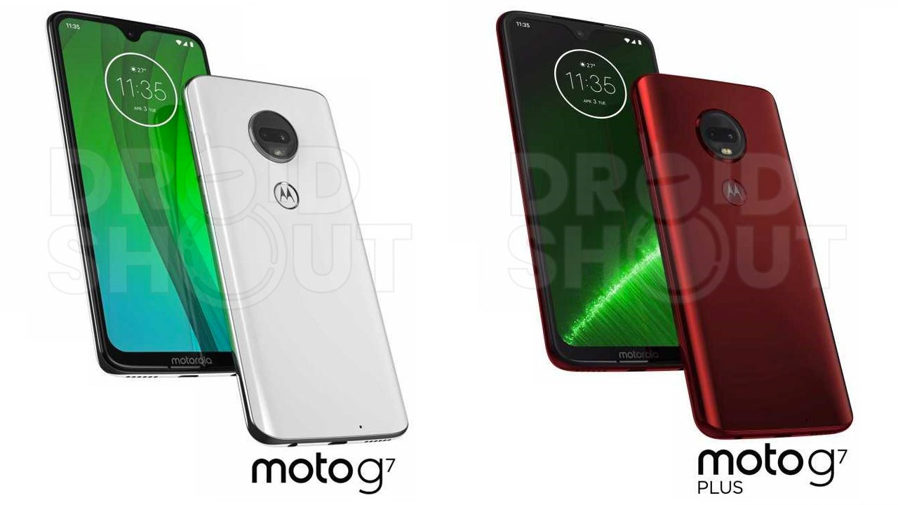 Render Moto G7 Series lineup shows different bangs